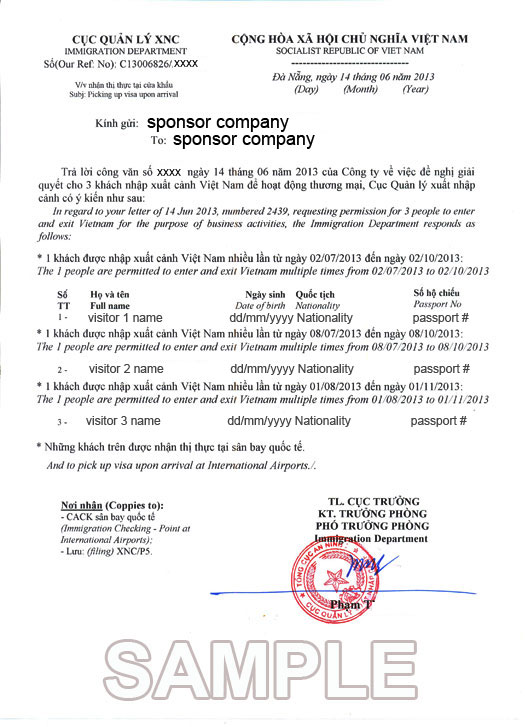 What Is Vietnam Visa Approval Letter